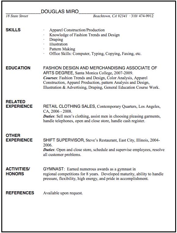 Fashion Merchandising Resume Sample Examples Resume Cv Resume Design Fashion Merchandising Education Fashion