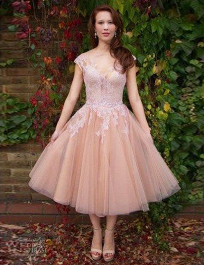 Goedkope korte blush roze prom jurk thee lengte lace tulle partij