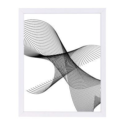 """East Urban Home 'Line Swirl 3' by Indigo Sage Framed Graphic Art Size: 25"""" H x 19"""" W x 1"""" D, Frame Color: White"""