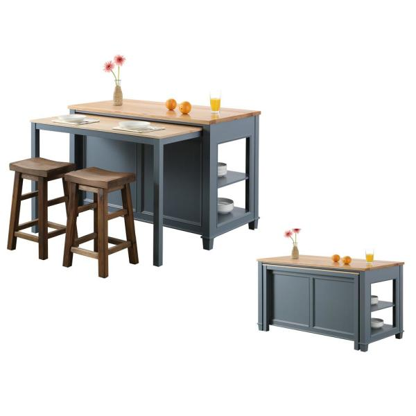 Design Element Medley Gray Kitchen Island With Slide Out Table Kd 01 Gy The Home Depot Grey Kitchen Island Portable Kitchen Island Kitchen Decor Inspiration