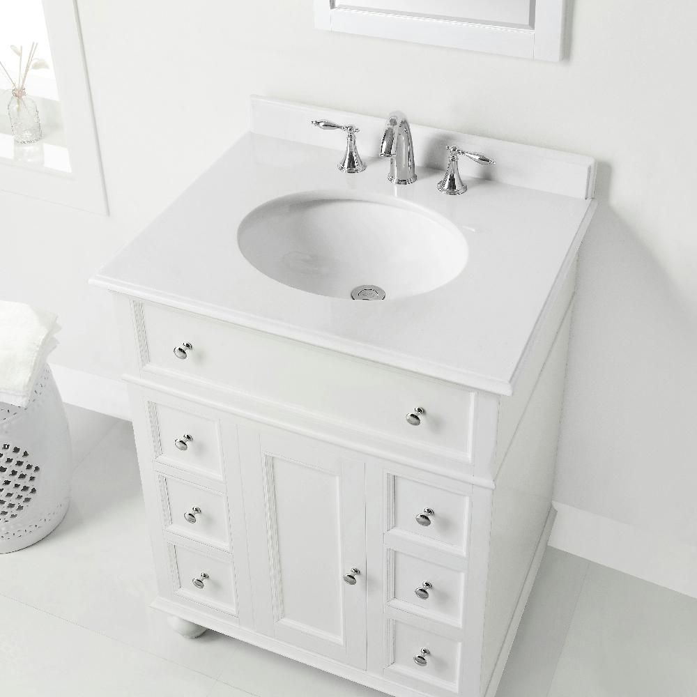 Home Decorators Collection Hampton Harbor 28 In W X 22 In D In White Bath Vanity With Natural Marble Vanity Top In Marble Vanity Tops White Sink Bath Vanities