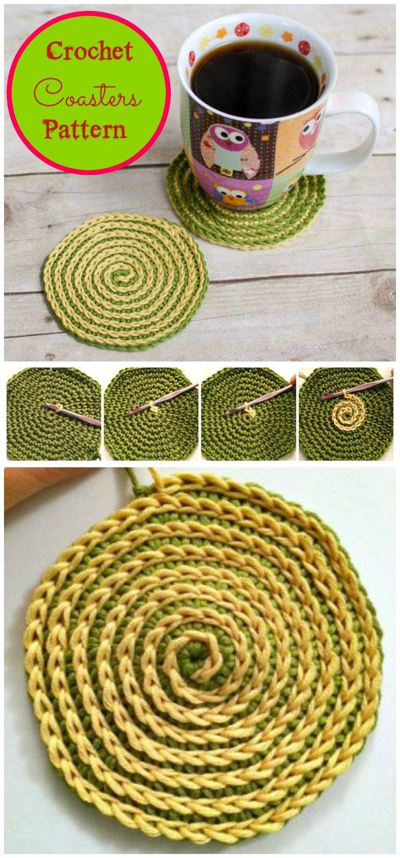 Lujo Patrón De Crochet Coaster Espiral Galería - Manta de Tejer ...