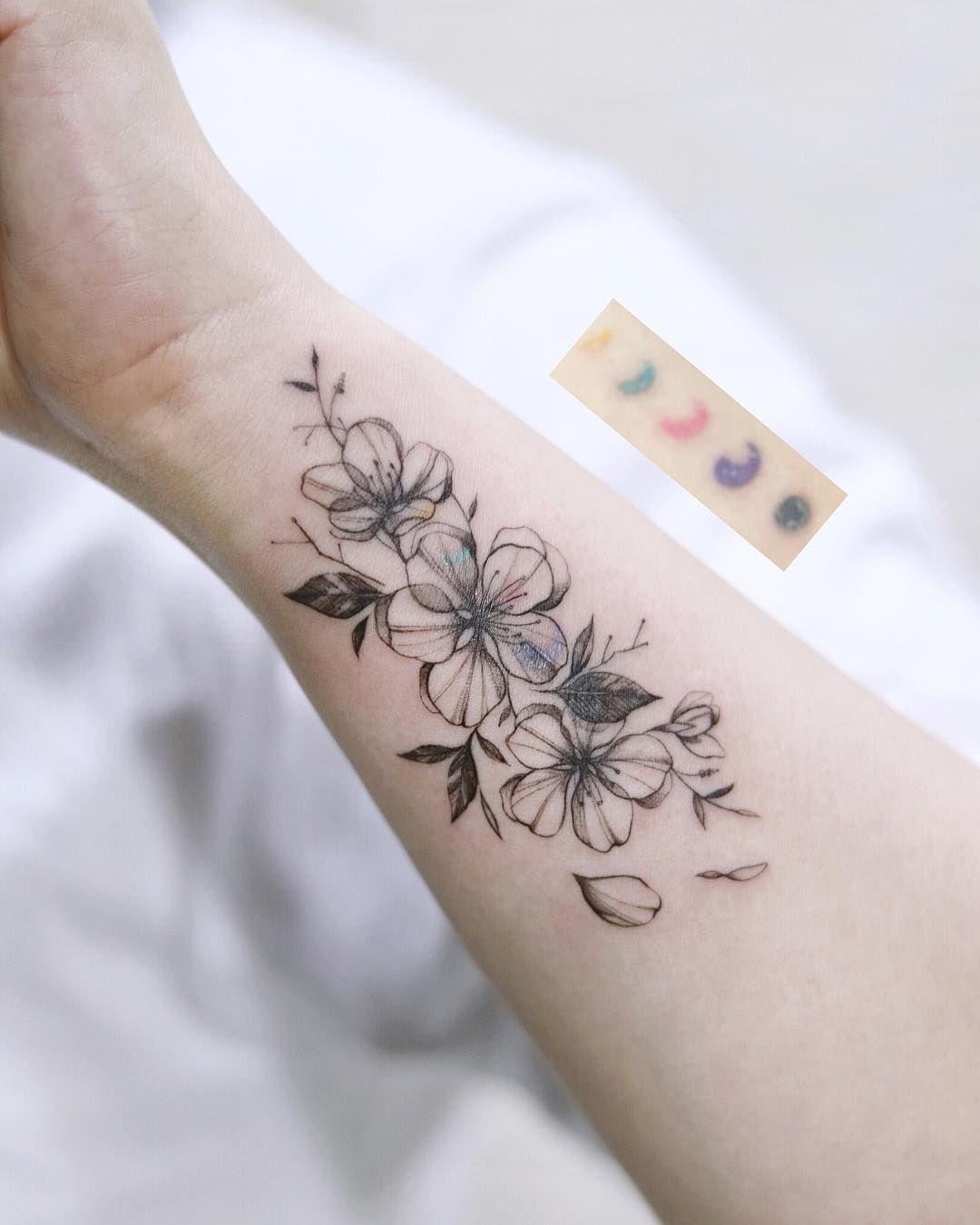27 Charming Cherry Blossom Tattoo Examples