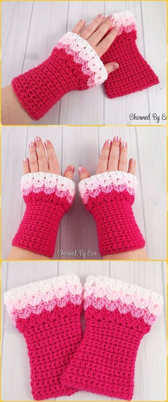 Crochet Sweetheart Wrist Warmers Free Pattern - Crochet Arm Warmer ...