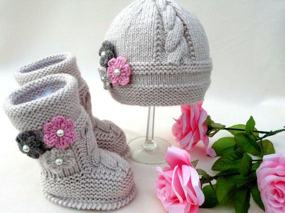 Baby girl knit hat and booties