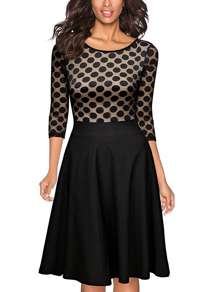 miusol damen elegant abendkleid vintag 50er kleider mit polka dots spitzen partykleid 3 4 arm. Black Bedroom Furniture Sets. Home Design Ideas