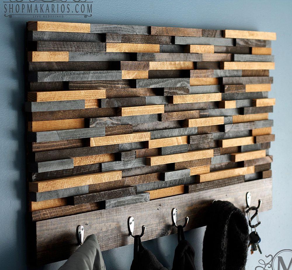 Wood Tile Coat Rack Diy Wooden Coat Rack Wood Art