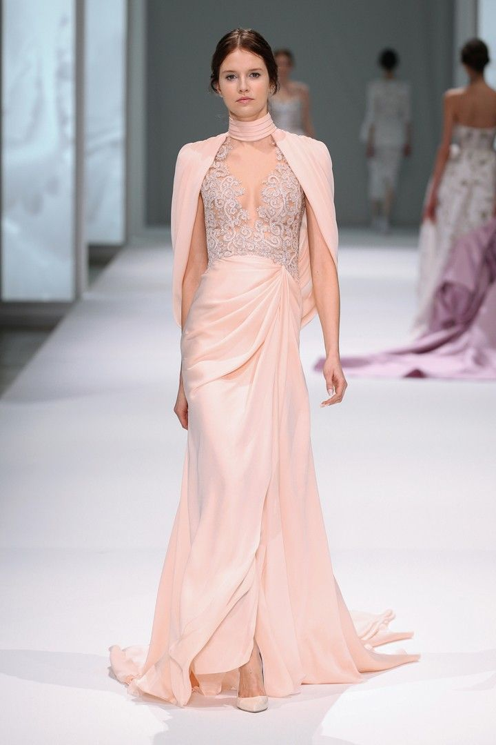 Champagne silk satin chiffon gown with draped skirt, sleeves and train with a hand embroidered sheer tulle bodice.