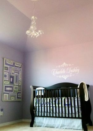 I think I may like this wall color and the name wall decal. Baby #2 nursery... here I come!