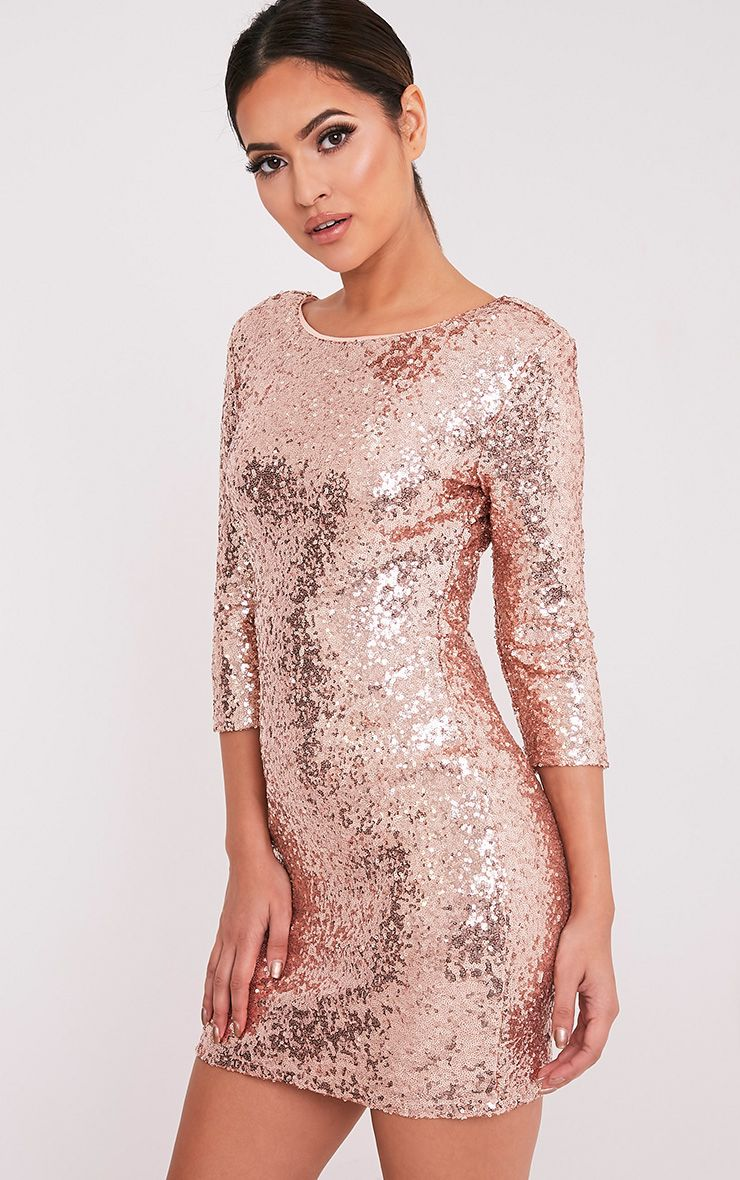 67642619 Eida Rose Gold Sequin Bodycon Dress - Dresses - PrettylittleThing |  PrettyLittleThing.com
