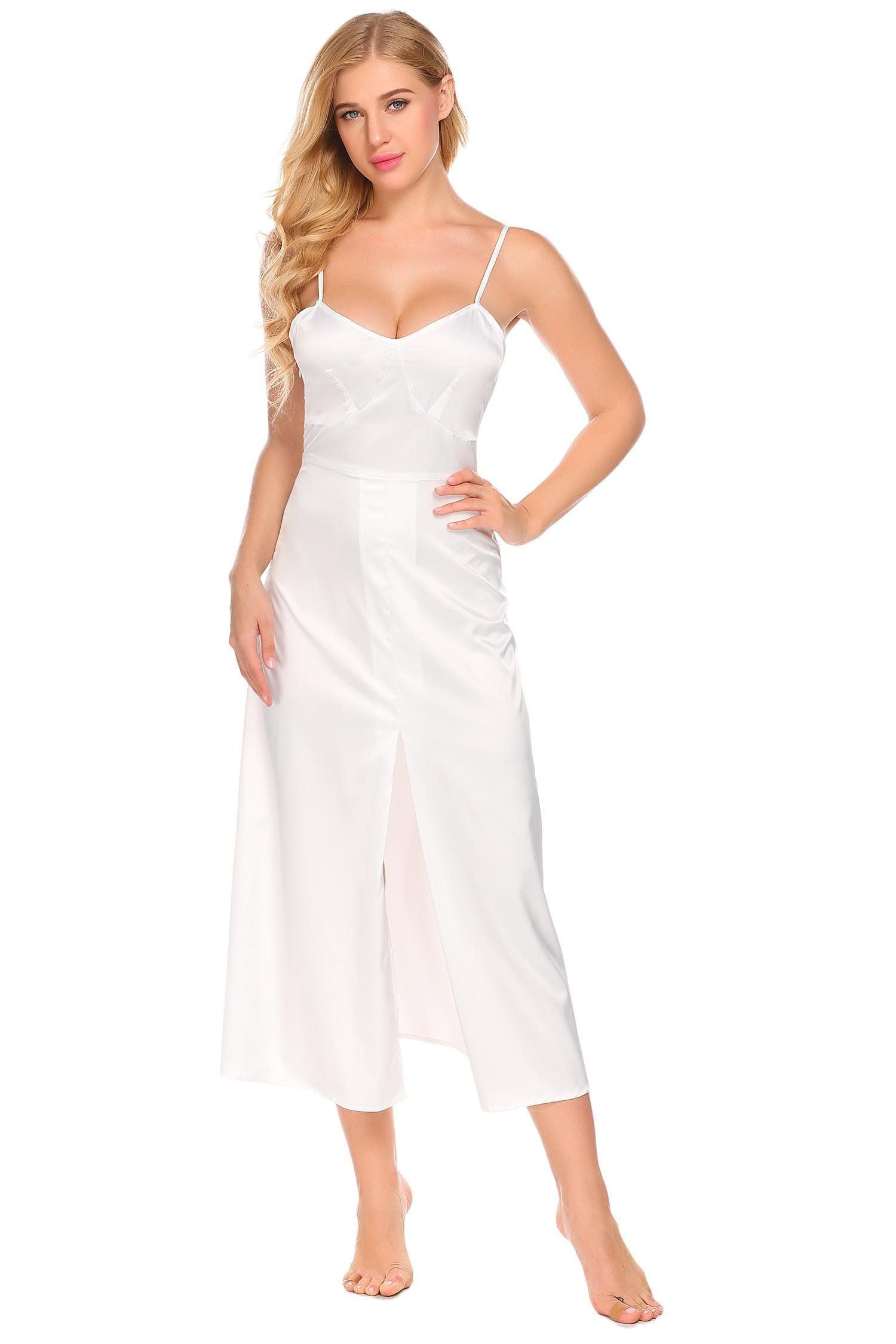 c1902e0b8639e BULGES Women Long Satin Nightgowns Sleeveless Chemises Nightdress Full  Slips Sleepwear     Inspect out this wonderful product. (This is an  affiliate link).