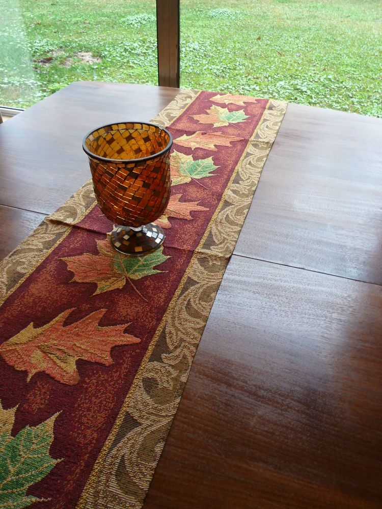 Fall Fest Harvest Leaf Tapestry Table Runner 2 Placemats Fall Color  Thanksgiving