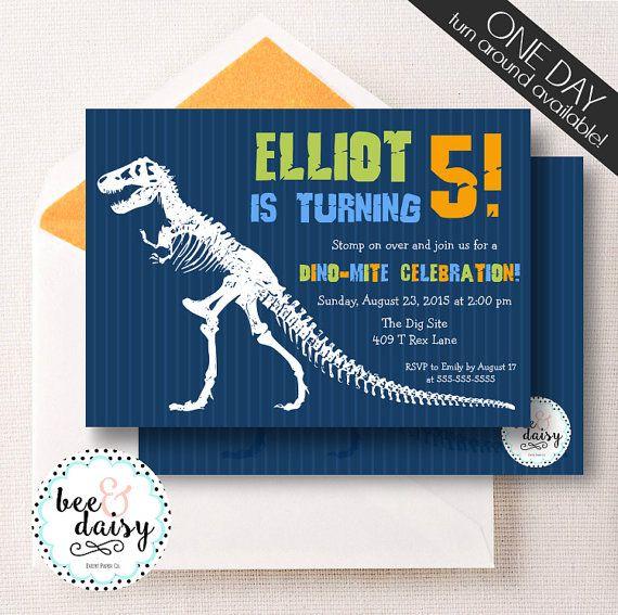 Dinosaur Invitation Dinosaur Birthday Party by BeeAndDaisy
