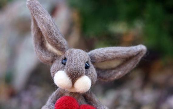Needle Felted Wool Brown Bunny with Red Heart by TheWoollyPear