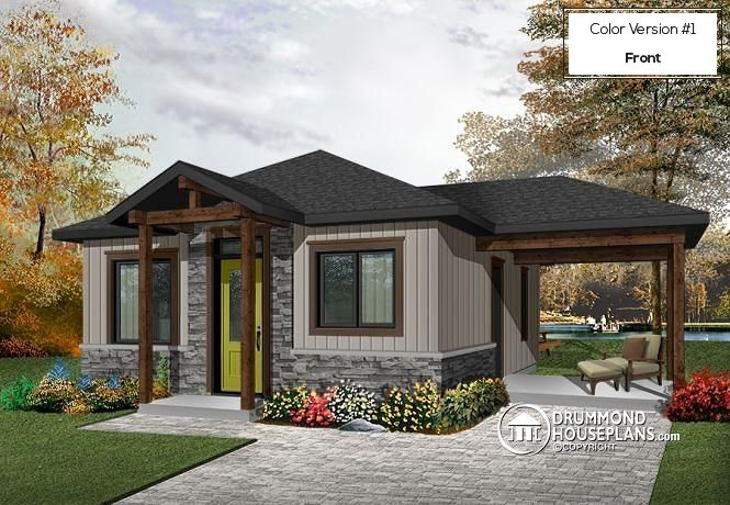 W1910-BH1 - Small modern rustic 2 bedroom home plans, open kitchen