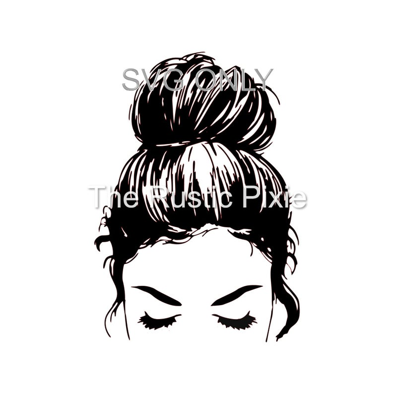 Messy Bun SVG / svg / hair bun SVG / Girl with lashes/ Top knot SVG/ Hairstylist svg -   10 hairstyles Bun drawing ideas