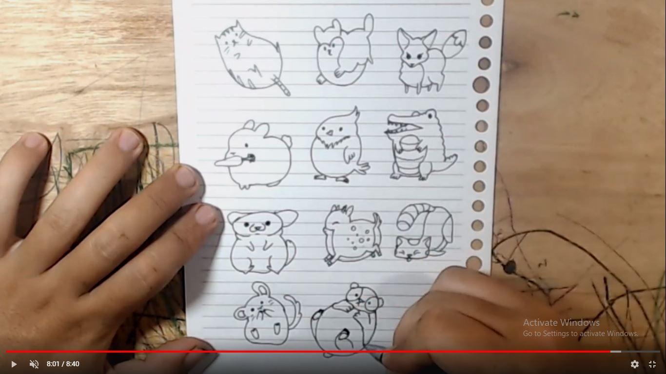 Cara Menggambar Doodle Hewan Lucu Kucing Anjing Ayam Kelinci Panda Pinguin Koala Buaya Coretan Hewan Lucu Anjing