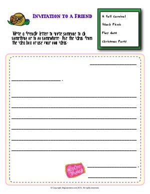 Worksheet  Invitation To A Friend  Write A Friendly Letter To