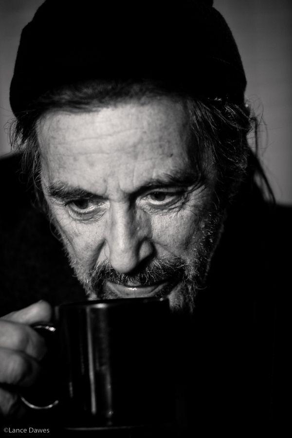 Al Pacino drinking coffee