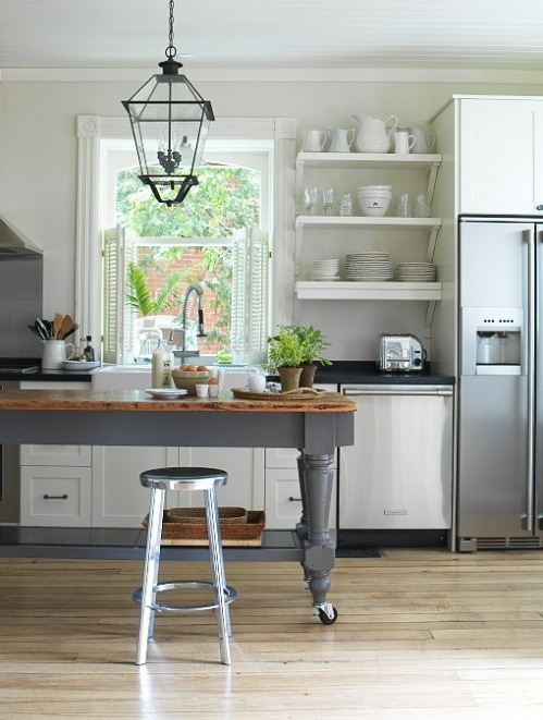 White Gray Modern Farmhouse Design With Creamy Kitchen Cabinets Open Shelves Sink Charcoal Island Butcher Block