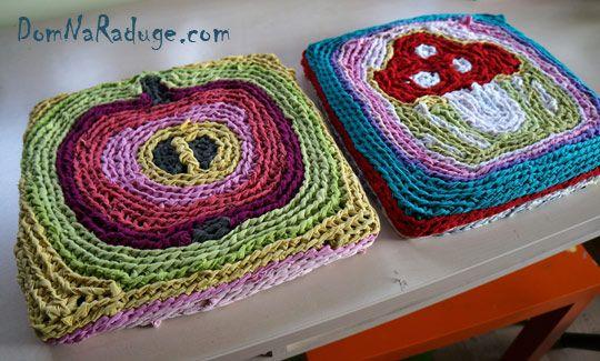 бабушкины коврики - квадратная сидушка на табуретку