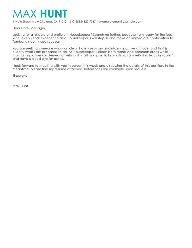 27+ Housekeeping Cover Letter   Housekeeping Cover Letter