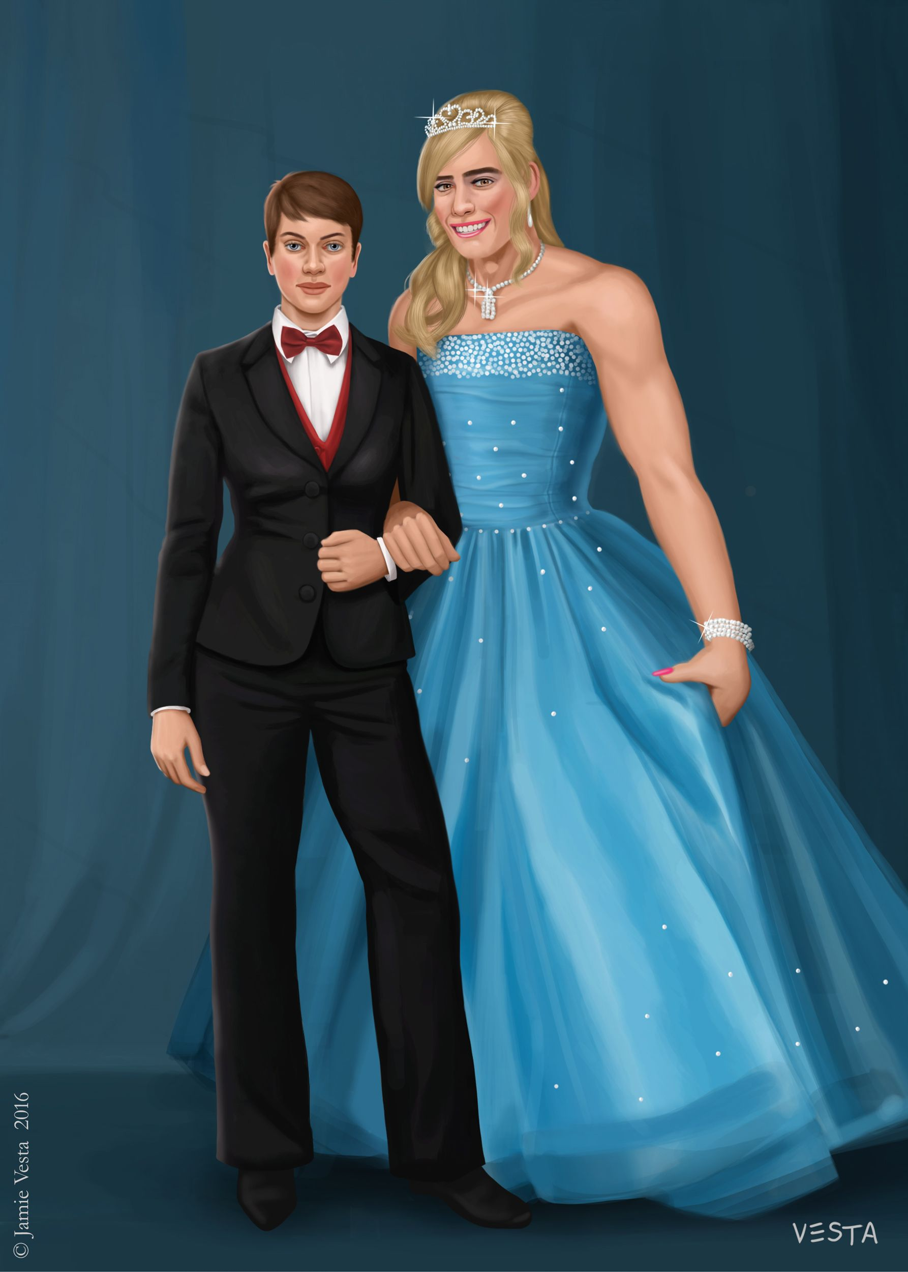 Prom couple. Girl and her date, posing for a photo before prom ...