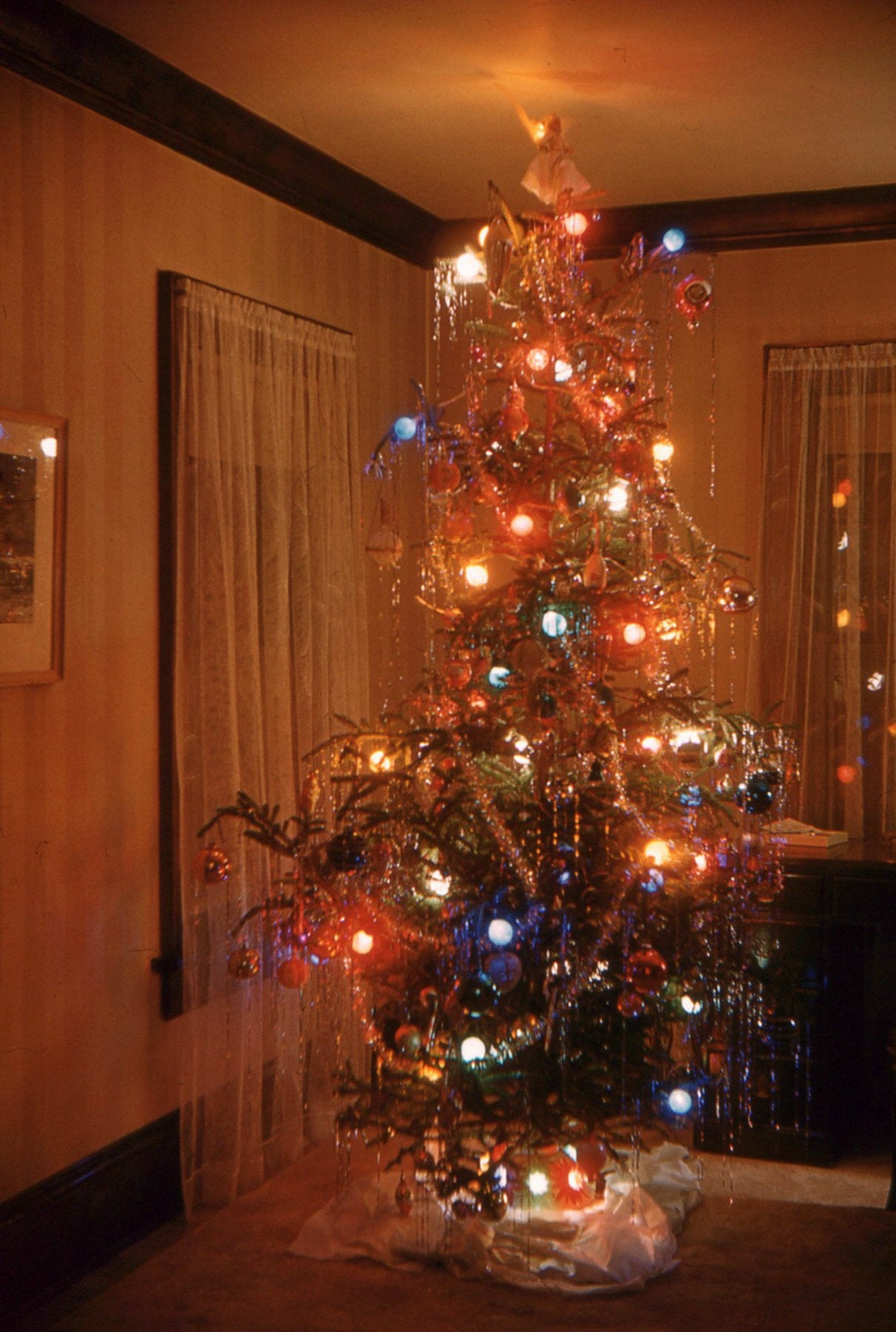 Vintage Red Border Kodachrome Slide Christmas Tree Lights