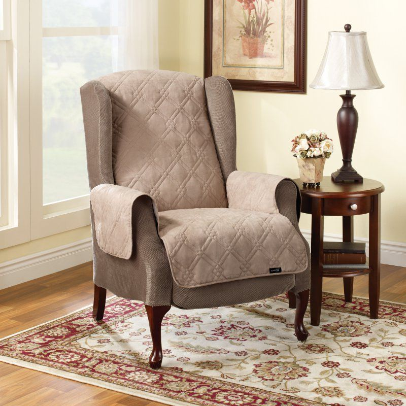 Sure Fit Suede Recliner/Wing Chair Pet Throw Cover Taupe