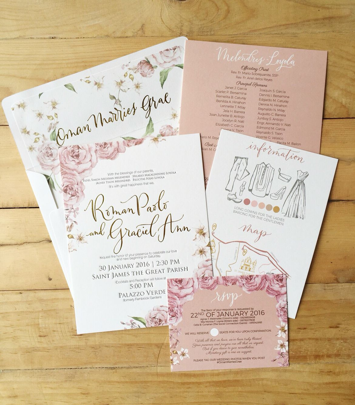 Roman Paolo and Graciel Ann Bespoke Suite -- Old Rose Wedding Invitation by  Ink Scribbler | Rose wedding invitations, Wedding invitations, Old rose  wedding