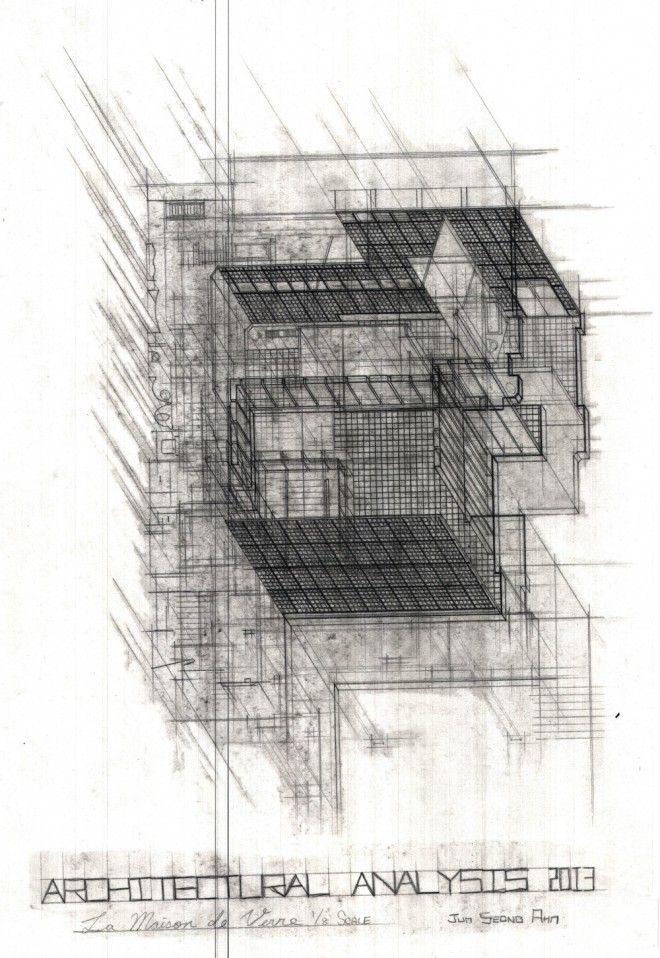 Jun Ahn S Plan Oblique Drawing Of Maison De Verre Drawing