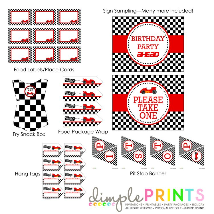race car deluxe printable party package