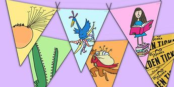 Roald Dahl Display Bunting Images - display bunting, roald dahl, roald dahl bunting, display, bunting, images, dahl display bunting images, flag bunting