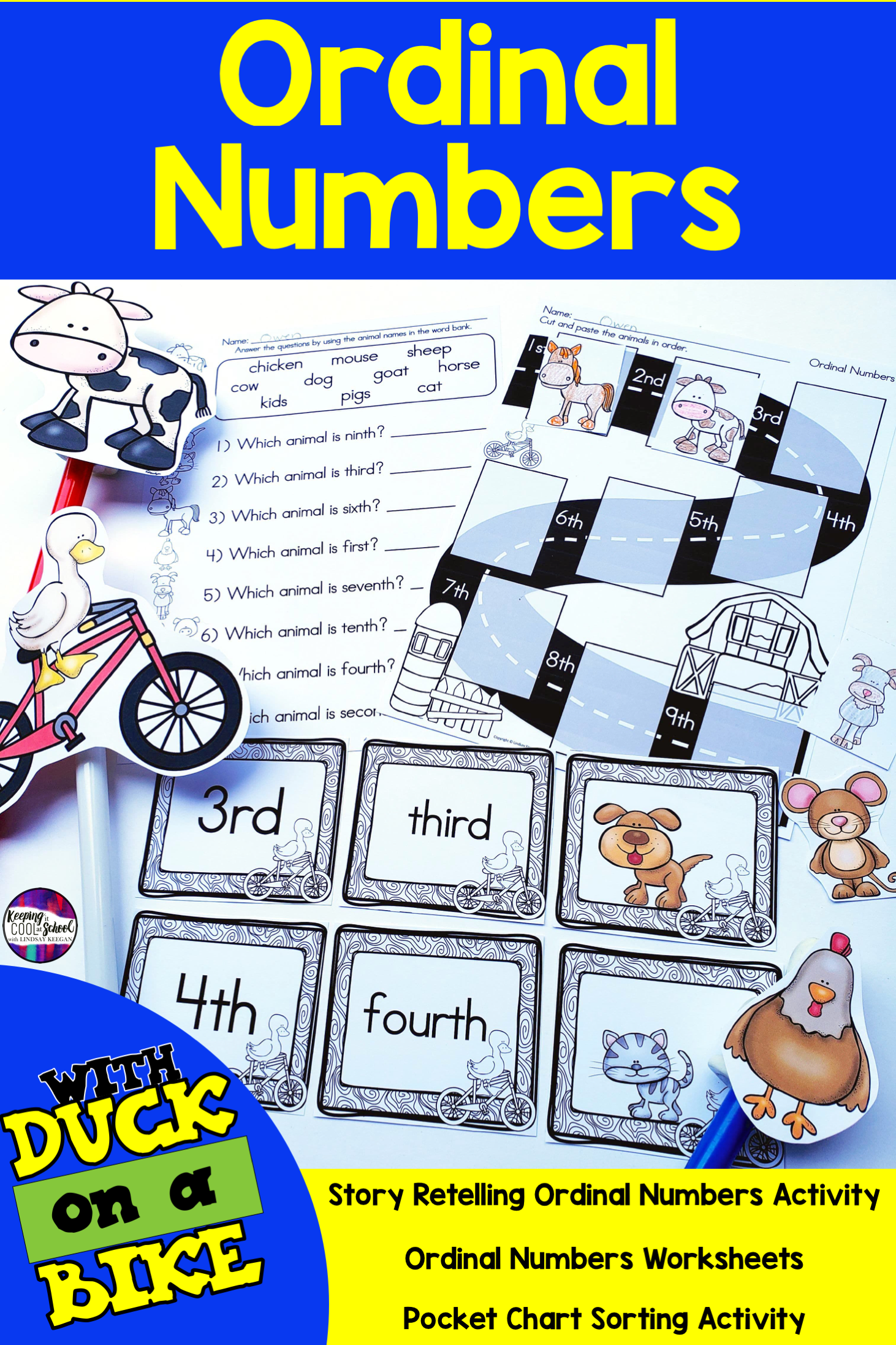 Ordinal Numbers Activities With Duck On A Bike