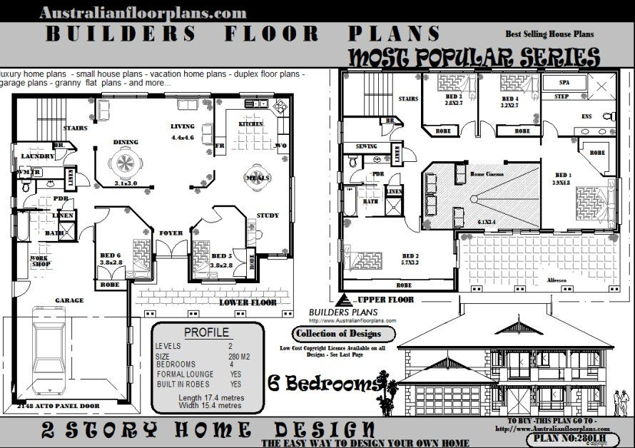 6 bedroom double storey house plans