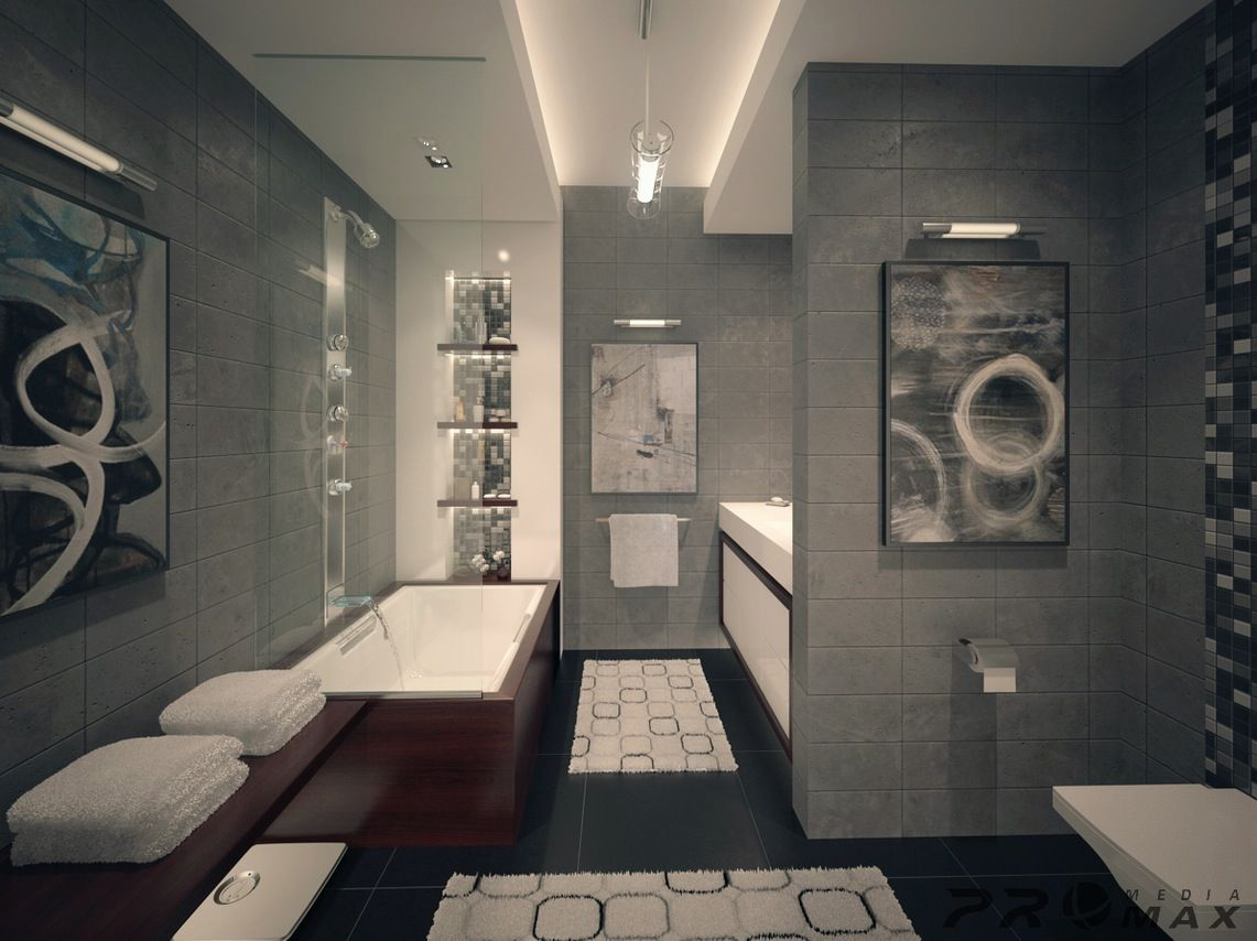 Luxurious Bathroom Designs For Apartments Ideas : Awesome Ultramodern Gray  Tile Wall And Flooring Apartment Bathroom Design With Glass Wall And Mosaic  Glass ...