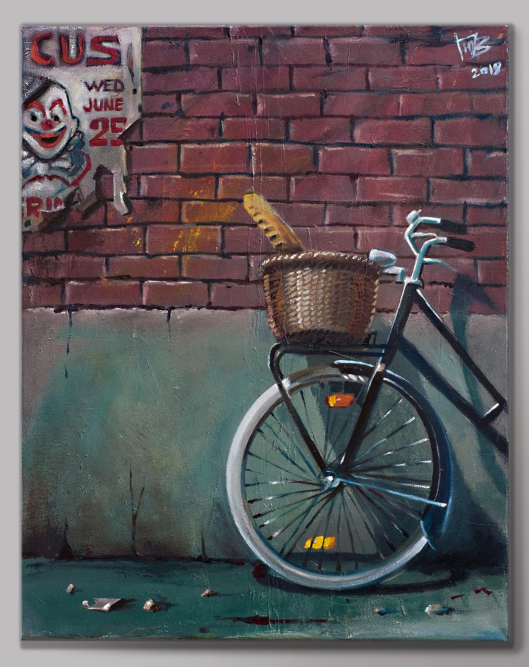 Original Oil Painting Of Old Bicycle Oil On Canvas Original