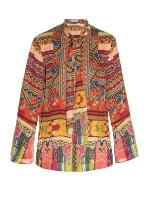 Tie-neck geometric-print blouse | Etro | MATCHESFASHION.COM