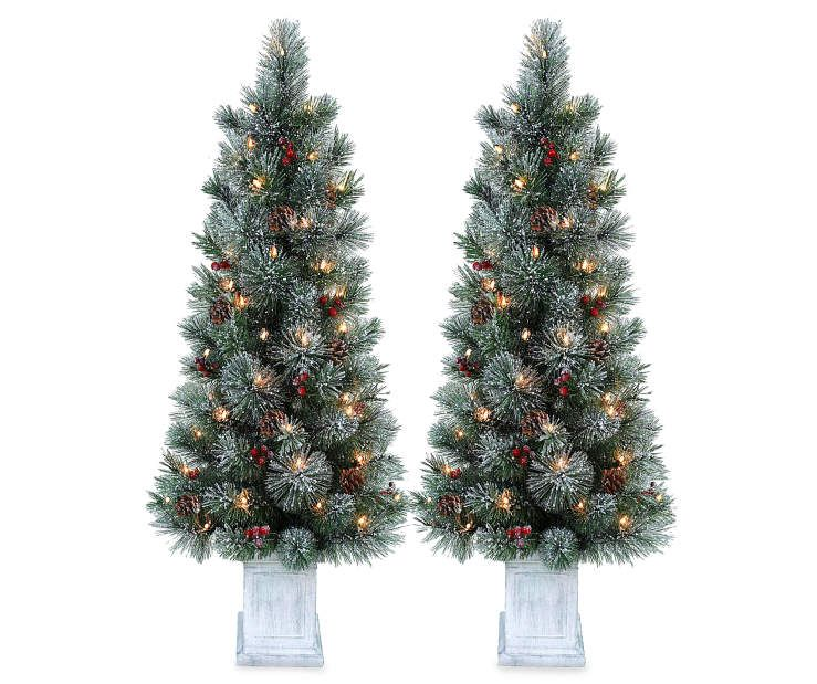 4\u0027 Dasher Flocked Pre-Lit Artificial Christmas Urn Trees with Clear