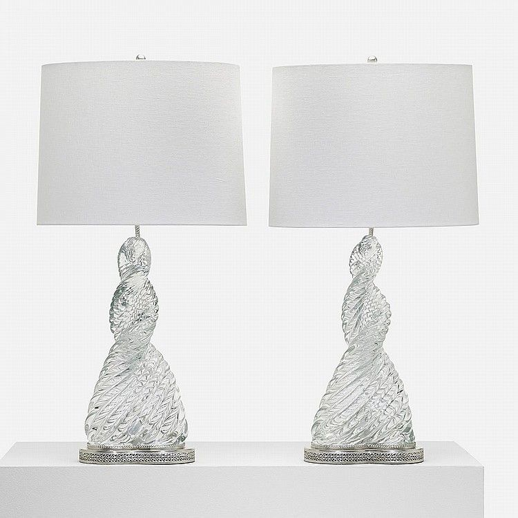 Paolo Venini and Carlo Scarpa Diamonte table lamps model 9034, pair Venini Italy, 1936 glass, silver plate, chrome-plated steel 15 w x 10 d x 31 h inches