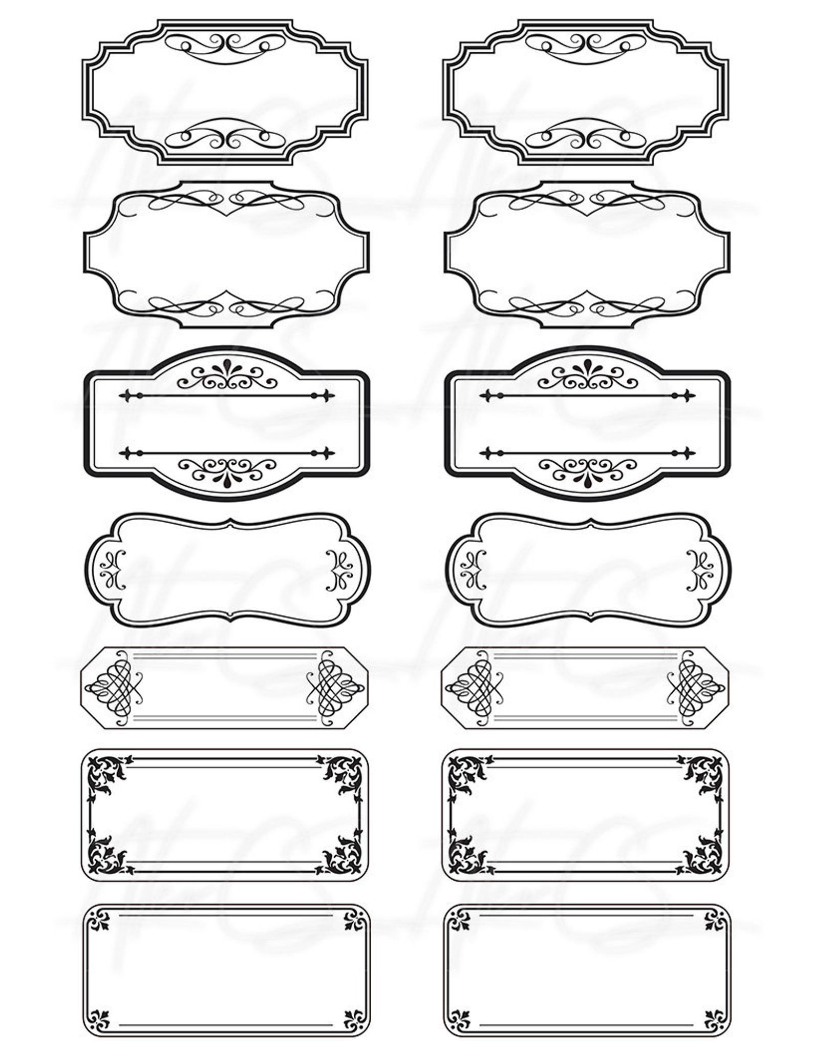 15 Printable Blank Vintage Apothecary Labels Set, Editable PDF, Scrapbooking Ephemera, Journal Junk, Collage Sheet, Digital Download