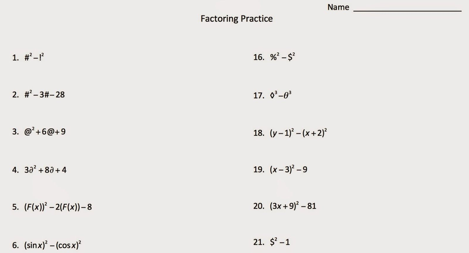 Factoring With Symbols