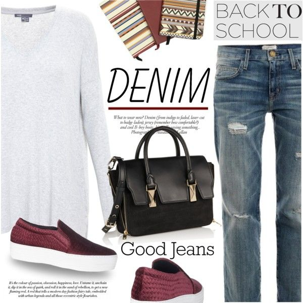 Back to School: Denim Guide by mada-malureanu on Polyvore featuring Vince, Current/Elliott, Joshua Sanders, Karl Lagerfeld, ANNA, BackToSchool, denim and espadrilles