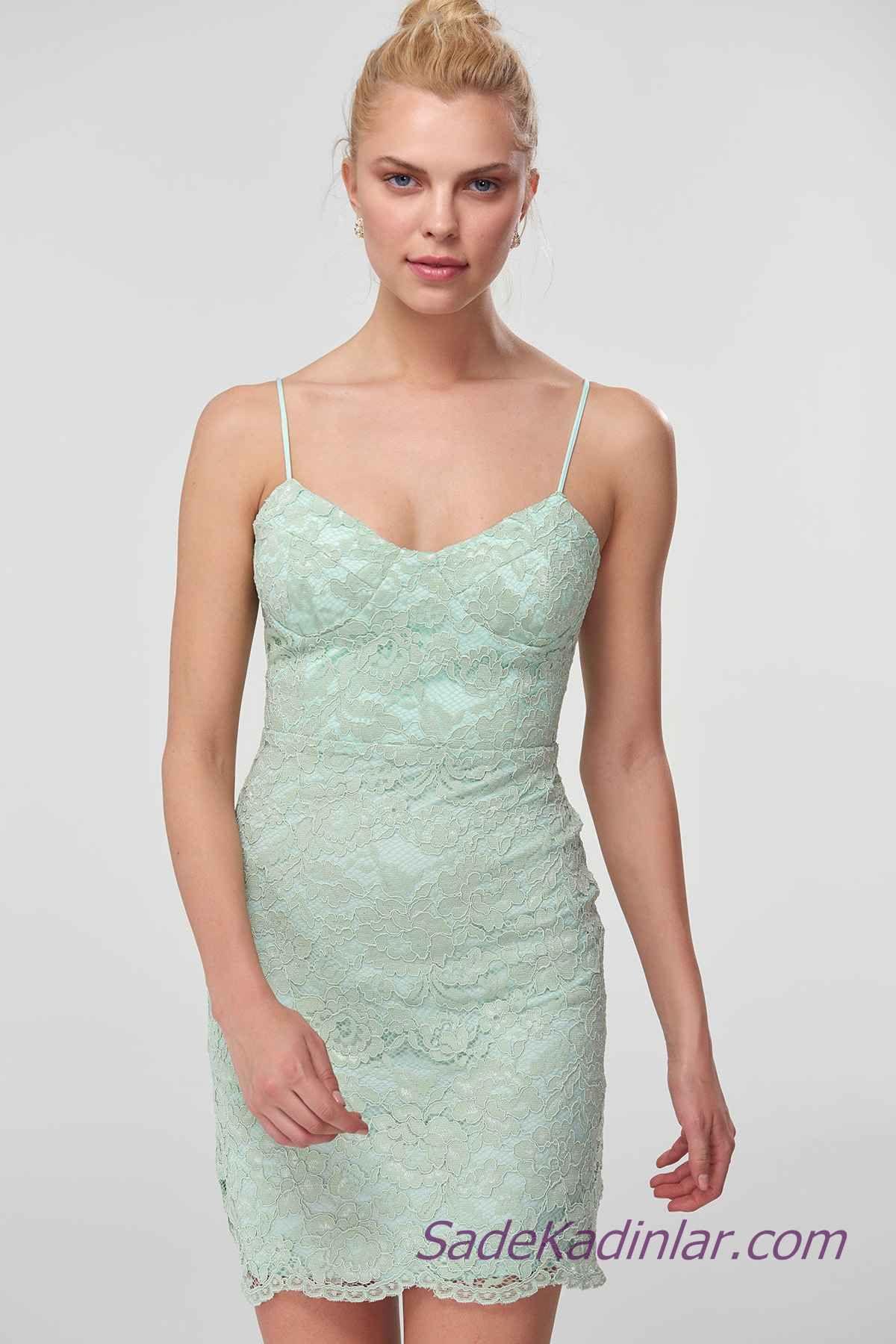 2021 Abiye Elbise Modelleri Yesil Kisa Ip Askili Dantel Detayli Elbise Modelleri The Dress Resmi Elbise