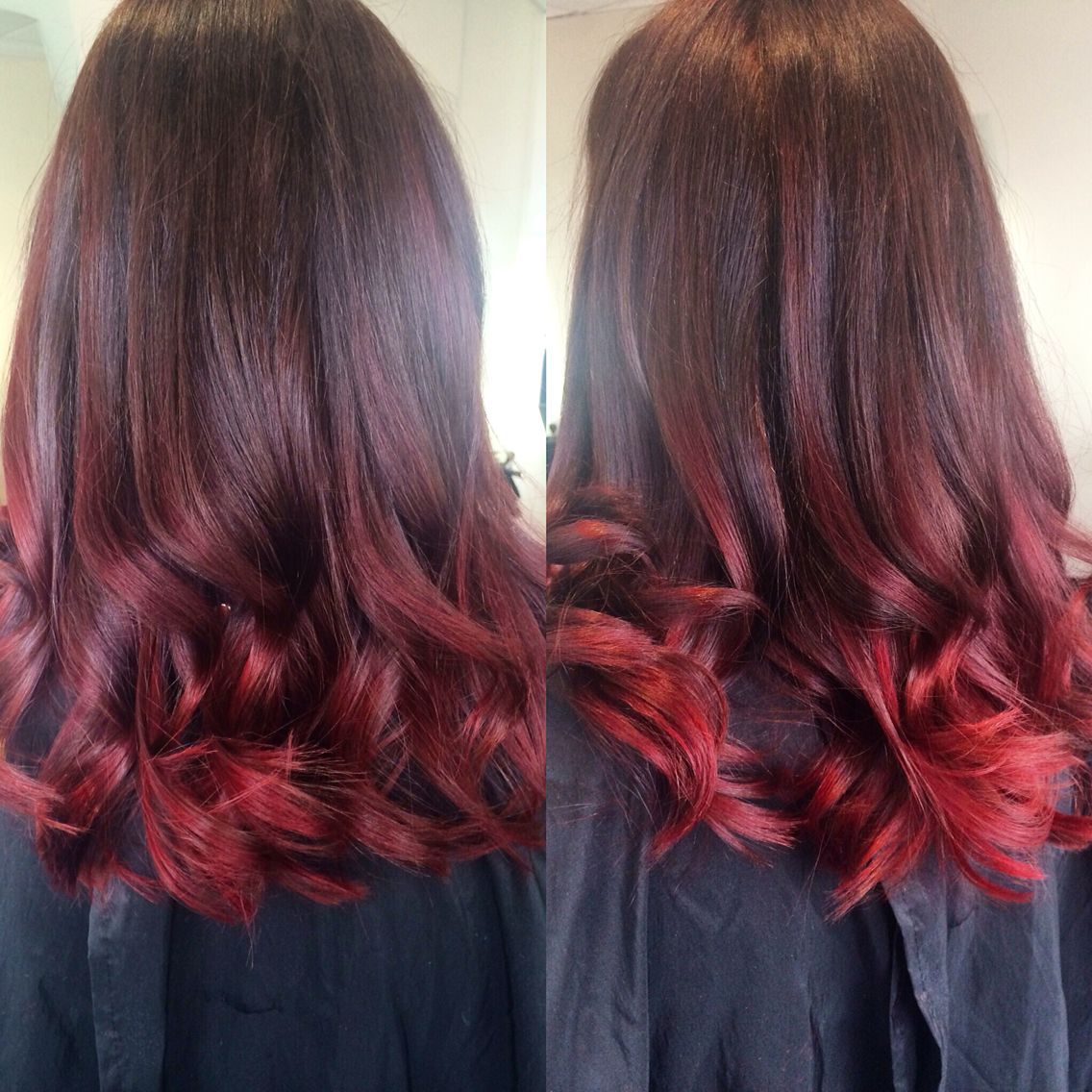 Bright Red Balayage From Box Dyed Brown Hair Highlights Brown Hair Red Ombre Hair Hair