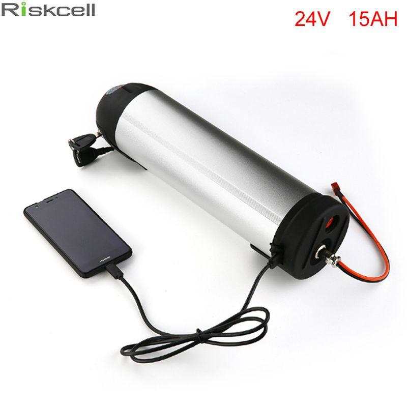 Free Tax Electric Bike Battery 24v 15ah Water Bottle 18650 Li Ion