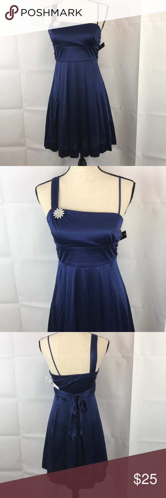 Dark blue shiny short formal dress small nwt my posh picks