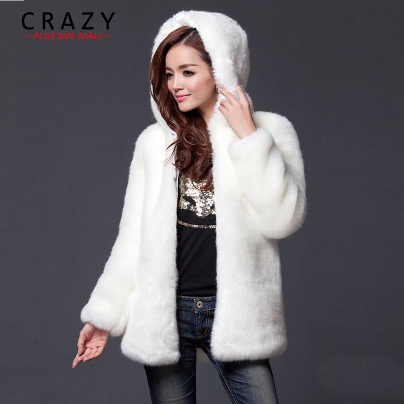 9e00c71ba95 2018 New Plus Size XL XXL XXXL 4XL 5XL 6XL Winter Warm White Faux Fur Coats  With a Hood Luxury Fake Fur Coats For Women. Yesterday s price  US  69.99  (60.88 ...