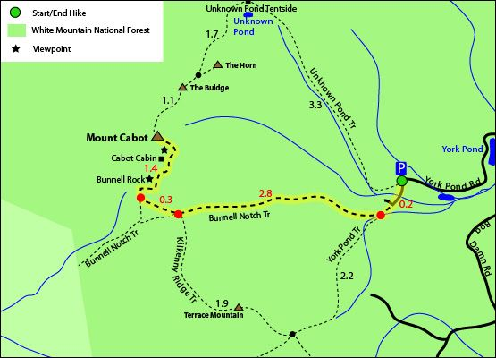 Hike Mount Cabot Footers Bunnell Notch Trail Cabot Cabin - Berlin nh map