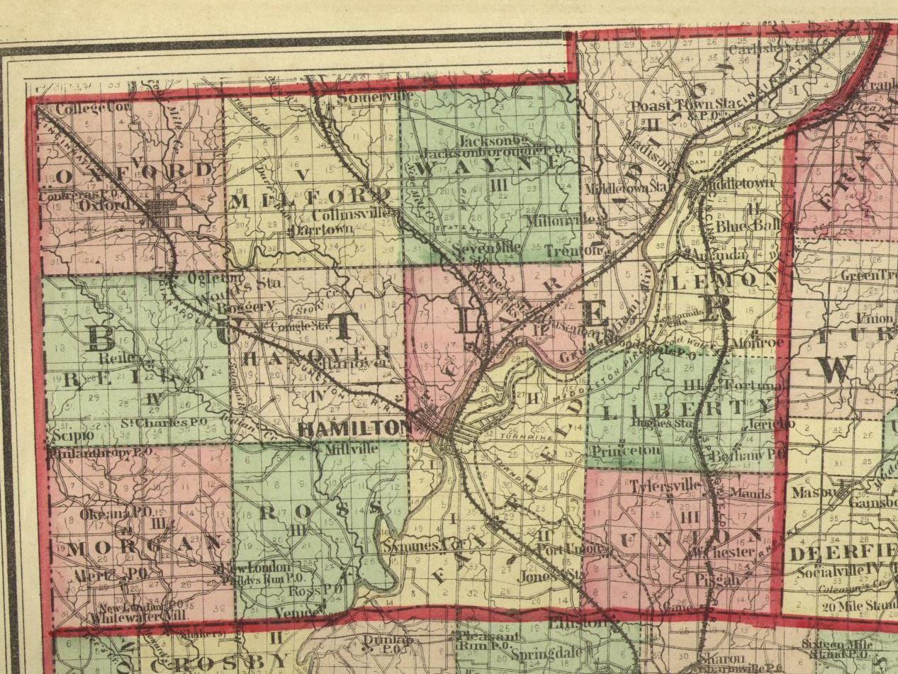1875 Map Butler County Ohio Www Gettothebc Com Butler County